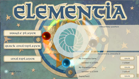Elementia Title Screen